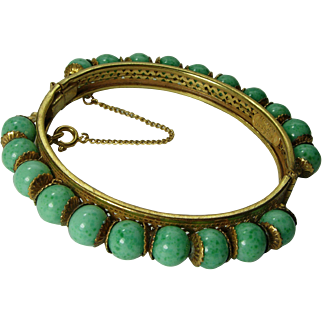 Signed Miriam Haskell Bracelet Hinged Bangle Green Peking Glass Russian Goldtone Filigree