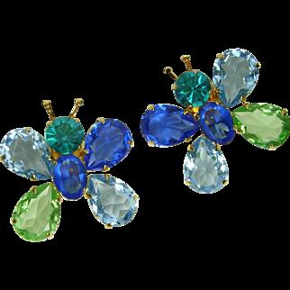 1980s Philippe Ferrandis Paris Earrings Butterflies Huge Blue Green Glass Stones Runway Statement