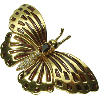 1980s Ciner Runway Size Butterfly Brooch Pin Guilloche Enamel Brilliant Rhinestones 3+ Inches Statement