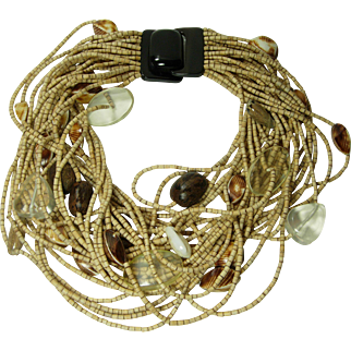 1980s Signed Monies Necklace Coconut Shell Carved Horn Lucite Shells Runway Statement