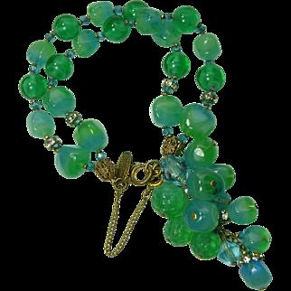 Vintage Signed Miriam Haskell Poured Glass Bracelet Tassel Green Blue Beads Rhinestones Filigree