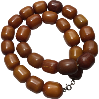 Early Vintage Butterscotch Bakelite Faturan Necklace 162 Grams Tested Barrel Beads 24 Inches