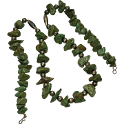 60s Turquoise Nugget Sterling Silver Beads Necklace Southwest Statement