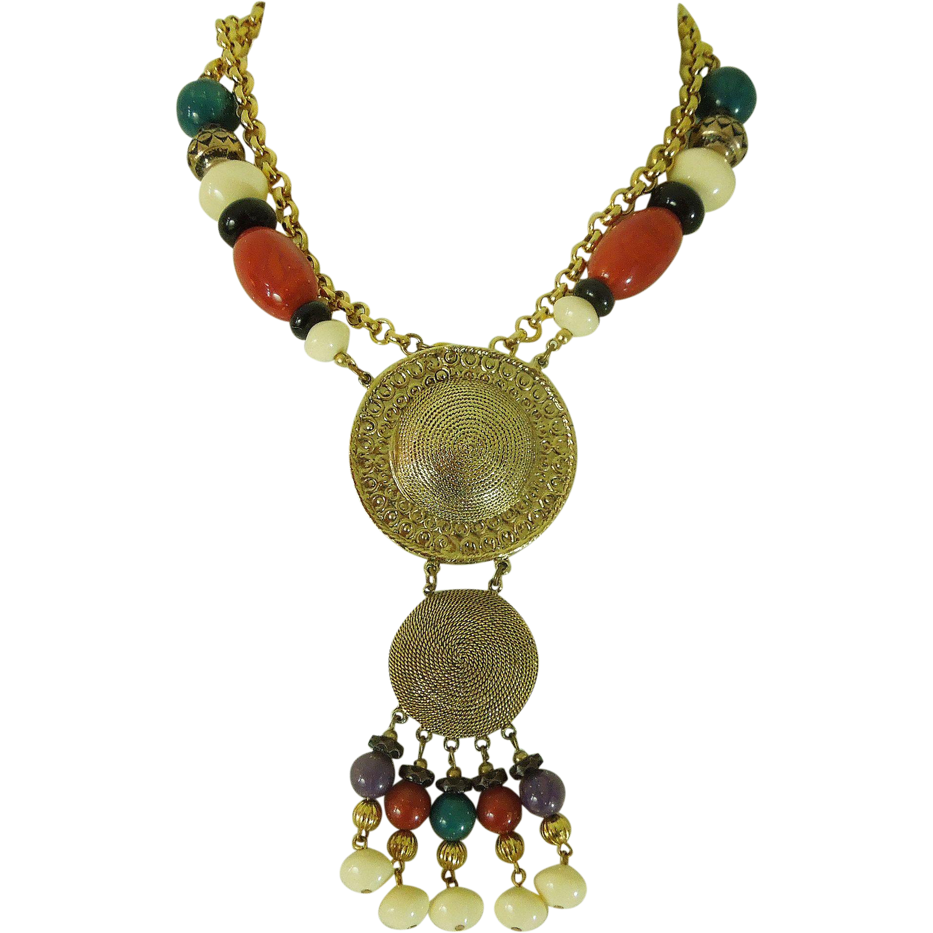 Style 123086 Diamontrigue Jewelry: 1970s Dauplaise Runway Tribal Style Long Necklace Lucite