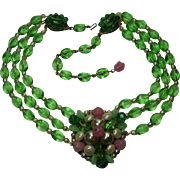 C 1960 Runway Couture French Poured Glass Necklace Green Pink Faux Pearls