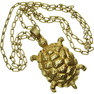1980s Huge Heavy Runway Turtle Form Necklace 4.5 Inch Pendant