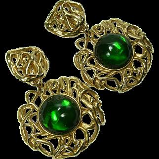 80s Yves Saint Laurent Huge Earrings Green Poured Resin Goossens Design Made in France