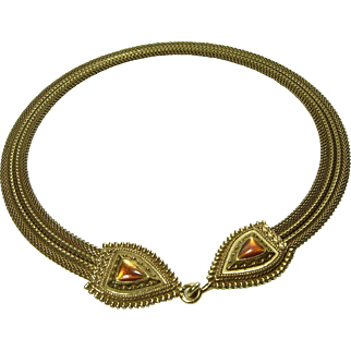 1970s Anne Klein Byzantine Style Necklace Snake Heads Enamel Runway Statement