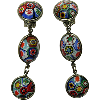 1970s Venetian Murano Millefiori Glass Earrings Cabochons 3 Inches Statement Size