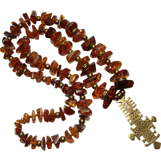 Very Big Vintage Couture Baltic Amber Nugget Necklace Tribal Style Pendant