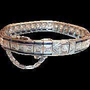 Art-Deco Diamond and Sapphire Bracelet set in 18 Karat Gold