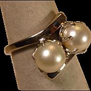Cultured Pearl Ring set in Palladium