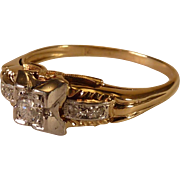 14 karat Yellow and White Gold Engagement Ring