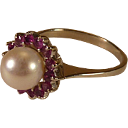 Elegant Pearl and Ruby Ring set in 14 K White Gold