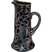 Sterling silver overlay art-nouveau green glass pitcher-tankard