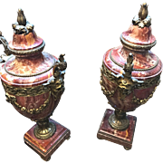 Marble Urns in the French Manner (Ormolu Mounted Red Variegated)