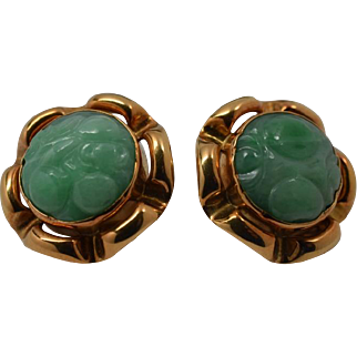 18K Yellow Gold Carved Jade Clip Earrings With Fruit and Flower Design.