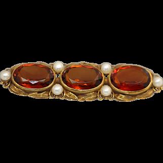 18k Yellow Gold Victorian arts & Crafts 3 Stone Citrine & Pearl Set Line Pin