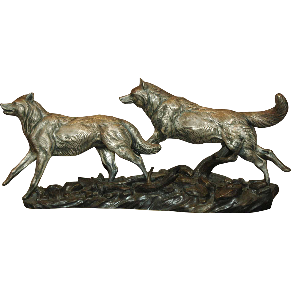 Fine Silver Sculpture of Wolves Running Free by Terry J Murphy