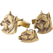 14K Gold boxer face Cufflinks and a Pendant