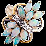 Australian Opal Cluster Diamond  Ring set in 14K