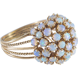 Hand Made Cabochon Opal Ring set in 14 Karat Gold