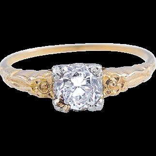 14 Karat Gold Diamond Ring with 18 Karat Gold Head