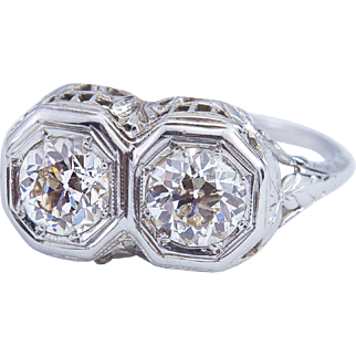 Edwardian Filigree Diamond Ring set in 14 Karat Gold