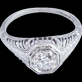 Original Filigree Solitaire Diamond Ring set in Platinum