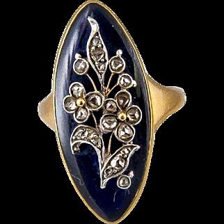 Enamel Stone ring, set in 18 Karat Gold