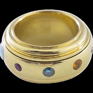Multi-Stone Man's Spinning Ring set in 18 Karat Gold