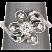 Diamond Flower Bypass Cocktail Ring White Gold 14k