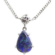 Lightning Ridge Blue Opal and Diamond Necklace in 14k White Gold