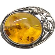 Natural Amber Art Nouveau Style Pin Brooch Sterling Silver