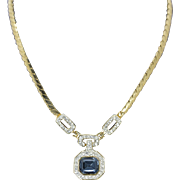 """Deep Blue Crystal and Cubic Zirconia Gold Plated Necklace 15"""""""