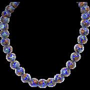 "Vintage Hand Knotted Blue Cloisonne' Floral Bead Necklace 18"""