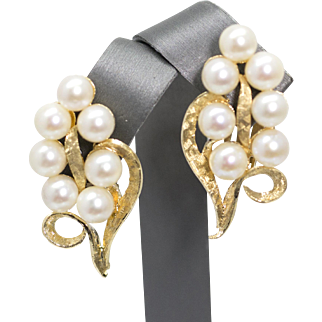 Vintage Akoya Pearl and 14k Yellow Gold Clip On Earrings