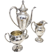 Shreve and Co. Sterling Silver Coffee or Hot Chocolate Pot with Sugar Bowl and Creamer