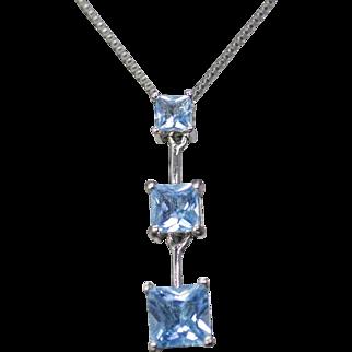 "1.19ctw Three Stone Journey Blue Topaz Y Necklace 18"" 14k White Gold"