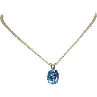 """3.16ct Bright Blue Topaz Yellow Gold 14k Pendant Necklace 18"""""""