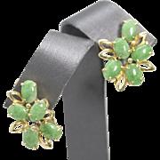 Vintage Green Jadeite 14k Yellow Gold Post Cluster Earrings