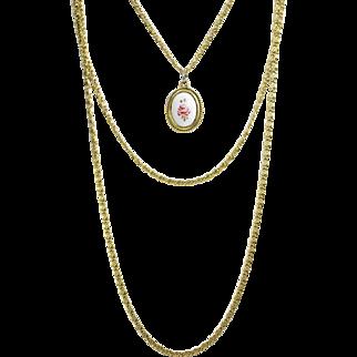 "Vintage Goldette Multi-Strand Pendant Necklace 32"""