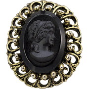 Vintage Victorian Black Onyx & Yellow Gold Plated Cameo Pin/Brooch of Young Girl