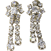 Vintage Elegant Clear Rhinestone Dangle Clip Earrings