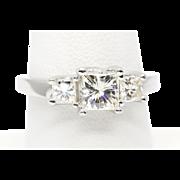 1.60ctw Princess Cut Three Stone Moissanite Engagement Ring 14k WG