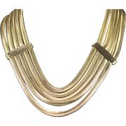 Layered Snake Chain Bib Necklace Gold Toned