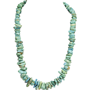 Vintage Native American Graduated Turquoise Nugget Necklace Sterling Silver