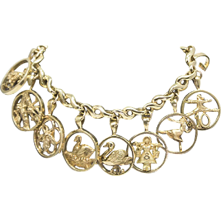 Jan David Tosa Fine Jewelry 12 Days of Christmas Charm Bracelet 18k 82.8g!
