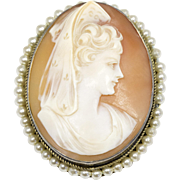 Antique Shell Cameo of Woman in Mantilla Veil in 800 Silver with Seed Pearls