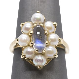Vintage Blue Moonstone and Pearl Ring 14k